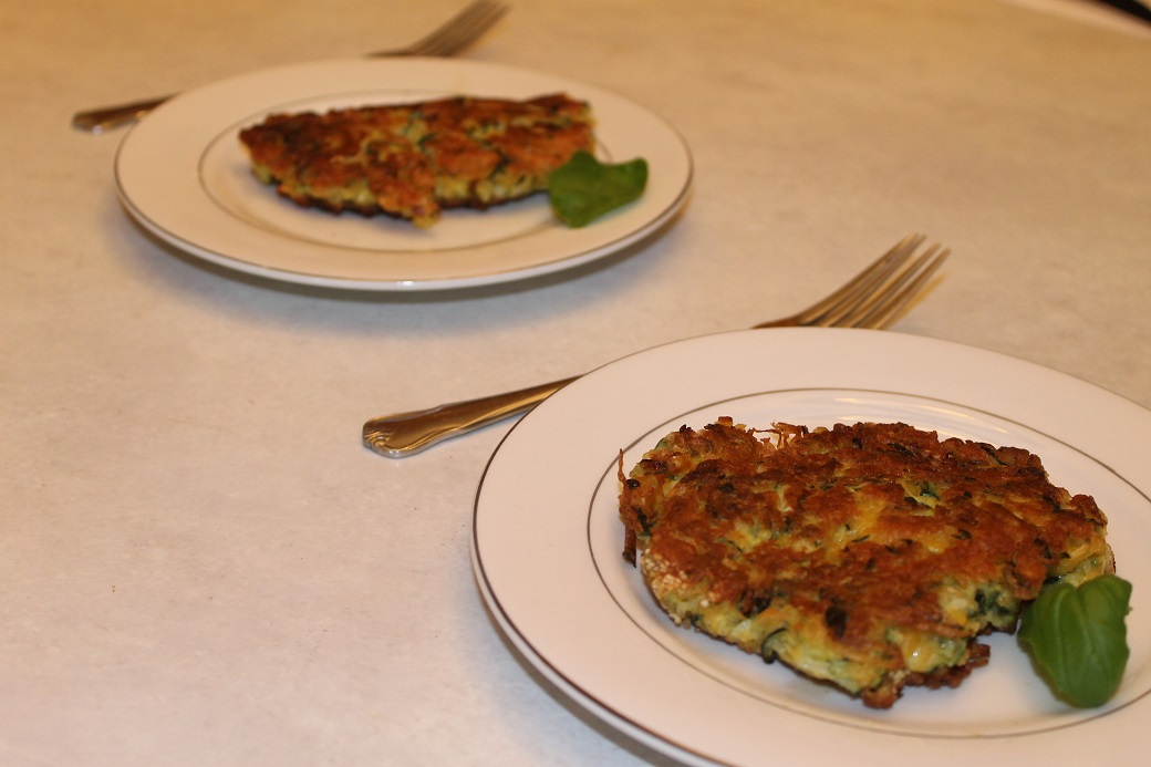 Fried zucchini patties, dubbed Zuck-Pats by the teenager.