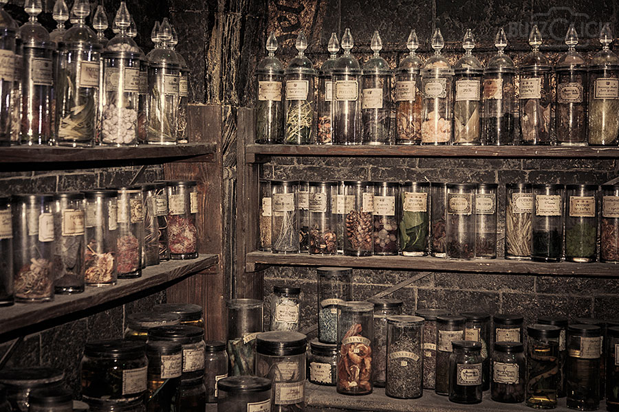 Something close to these potions shelves but perhaps not as dark and dreary as Hogwarts.